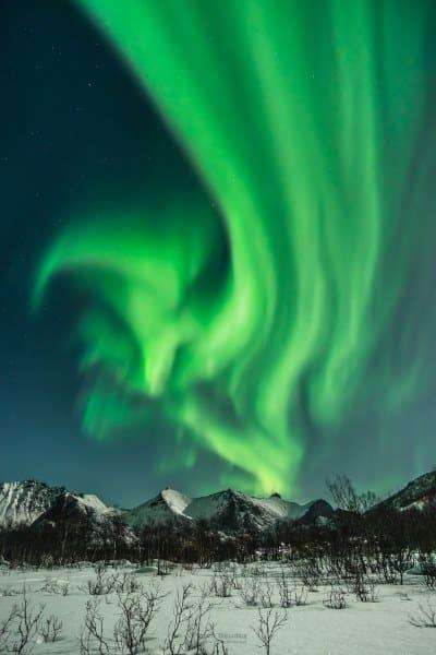 Aurores boréales à Senja Tromso en Norvège