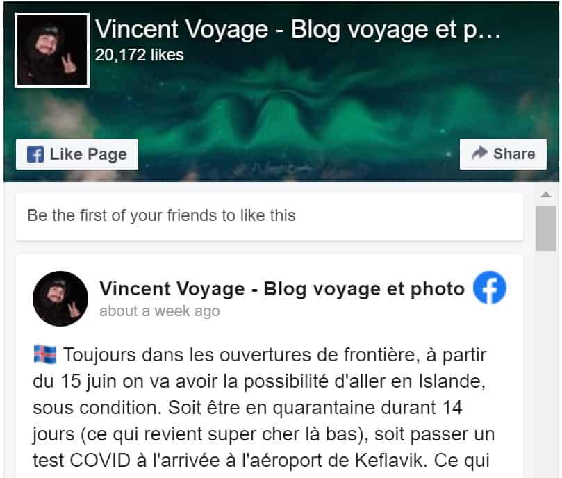 Page facebook du blog Vincent Voyage