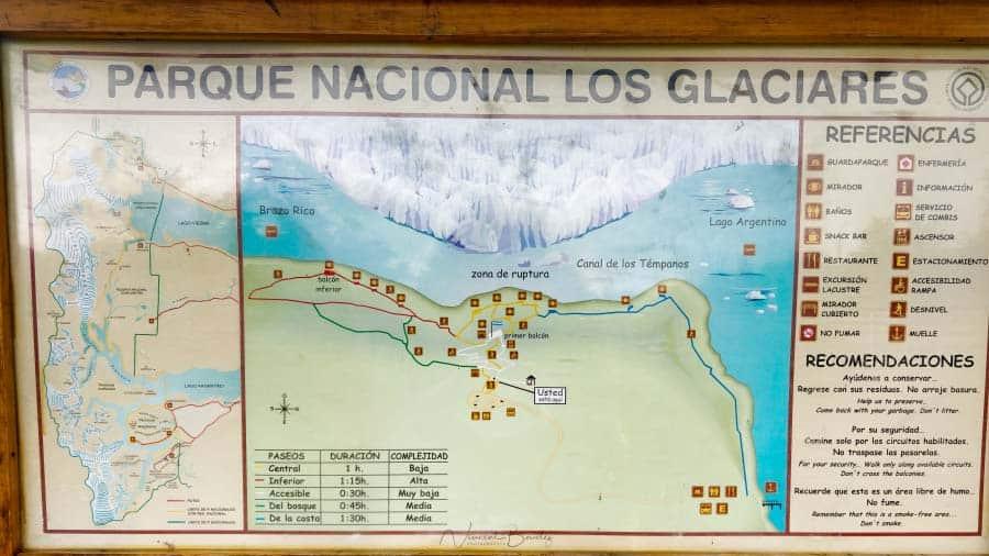 carte chemins balade glacier perito moreno ARgentine