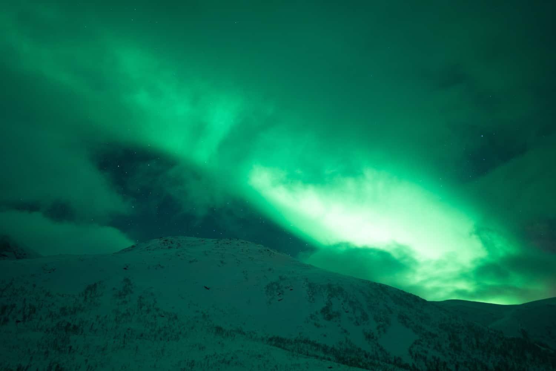 Photo aurores boréales surexposée