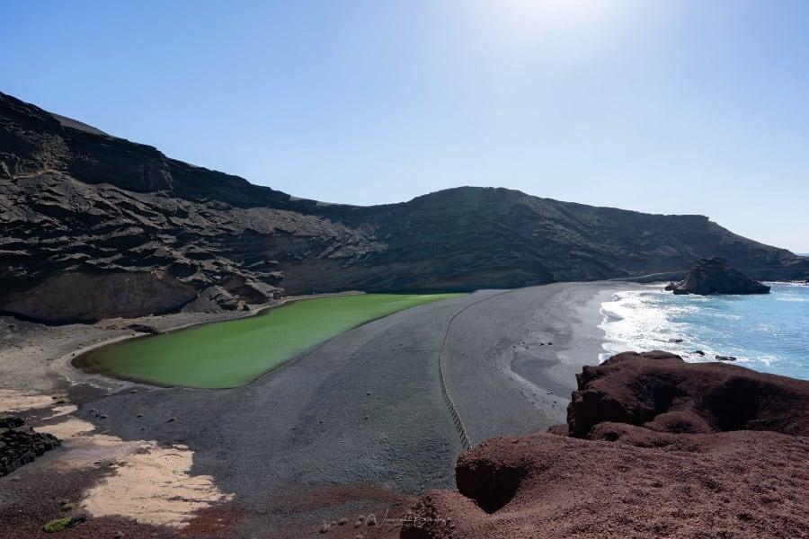 Laguna verde à El Golfo à Lanzarote en Espagne