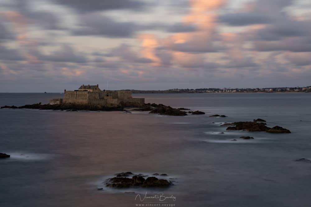 Coucher de soleil à Saint Malo sur le fort National