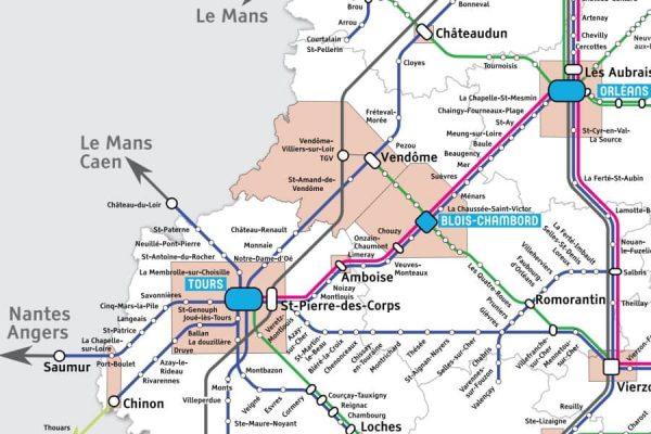 carte des châteaux de la loire en bus
