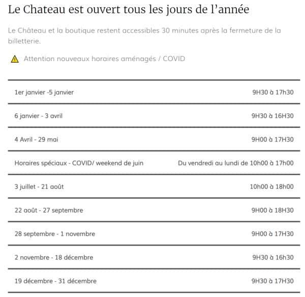 horaires du château de Chenonceau