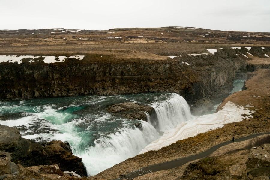 Chutes de Gullfoss dans le cercle d'or en Islande