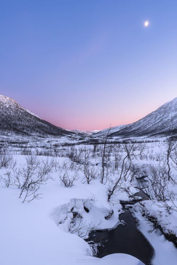 vallée senja coucher de soleil