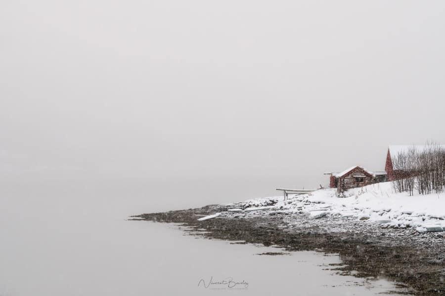 Tromso fjord hiver neige tempete cabane Norvège | Blog Vincent Voyage
