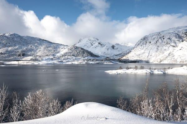 Paysages des iles Lofoten en hiver