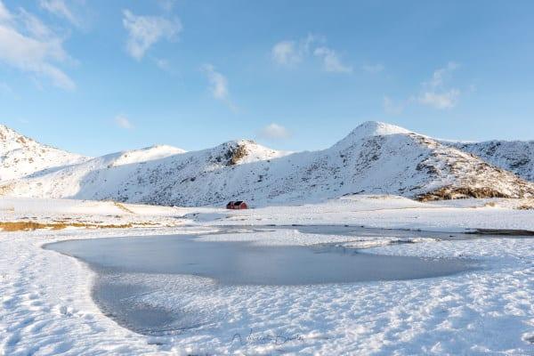 Paysages des iles lofoten en hiver en norvege