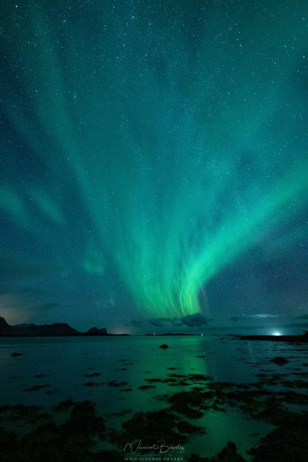 Aurores boréales plage Senja Norvège