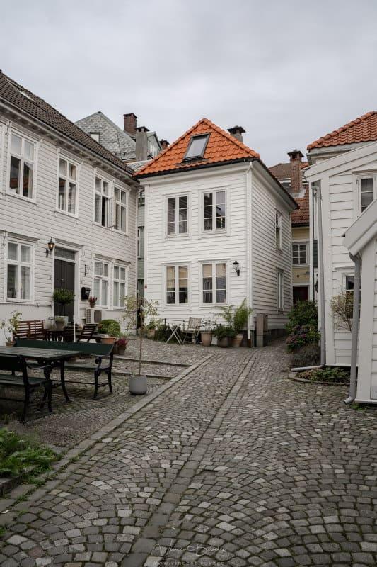 Maisons en bois à Bergen en Norvège