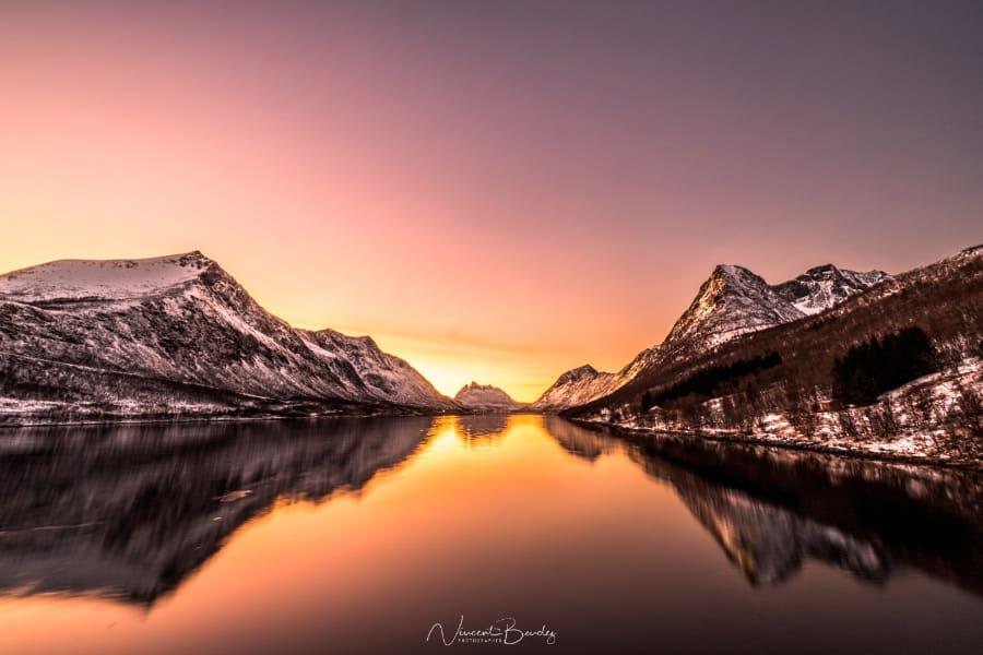 coucher de soleil gryllefjord Senja Norvege photo