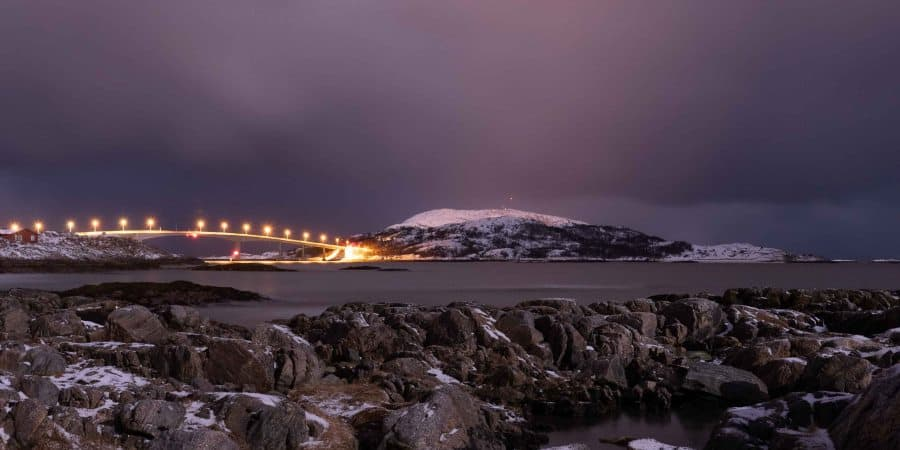 pont sommaroy nuit kvaloya tromso | blog vincent voyage