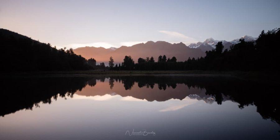 lever de soleil au lac matheson nouvelle zelande blog vincent voyage