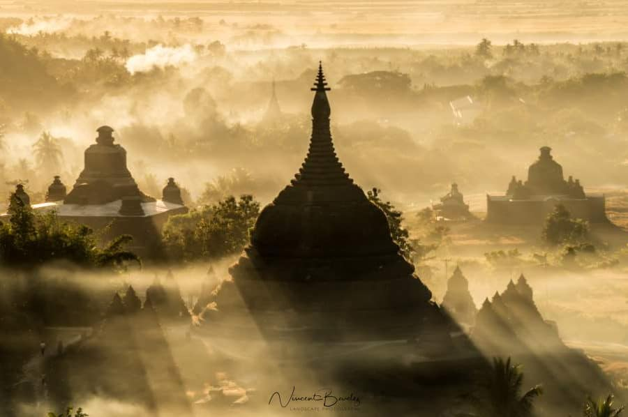 mrauk u sunset myanmar