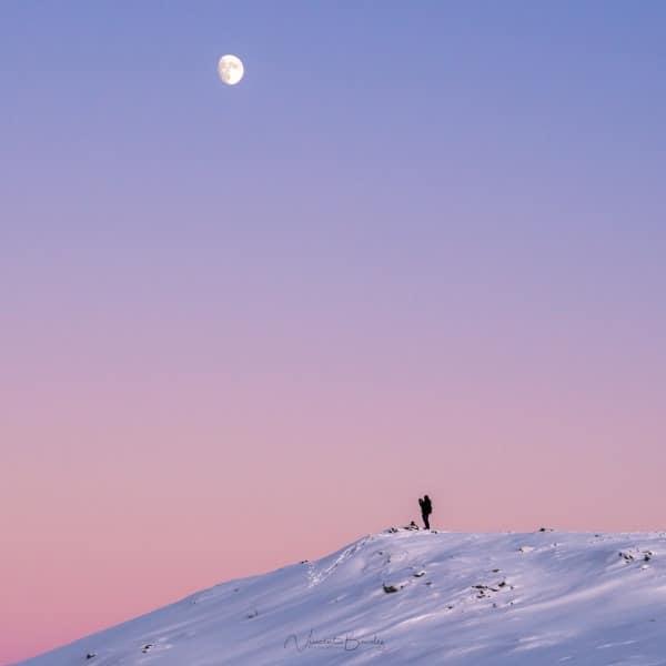 Coucher de soleil en Norvège à Tromso lune Fjellheisen | Blog Vincent Voyage