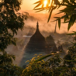 coucher de soleil Birmanie Mrauk U temples fumée | Blog Vincent Voyage